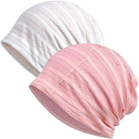 Jemis Women s Baggy Slouchy Beanie Chemo Cap for Cancer Patients 2 Pack Pink White product image