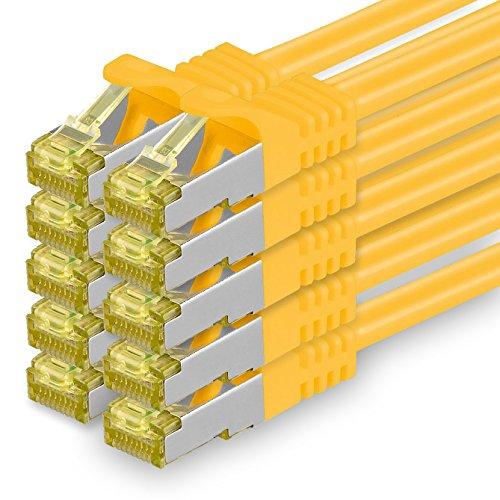 Cat.7 Netzwerkkabel 1m Gelb 10 Stück Cat7 Ethernetkabel Netzwerk LAN Kabel Rohkabel 10 Gb s SFTP PIMF LSZH Set Patchkabel mit Rj 45 Stecker Cat.6a