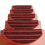 TOUCHFIVE Klettverschluss Klebend Treppenteppich Stufenmatte Treppenstufen Matten | Halbrund | - 15 Stück für Raumspartreppen/Wendeltreppen (Rot gestreift, 65 * 24+3cm)
