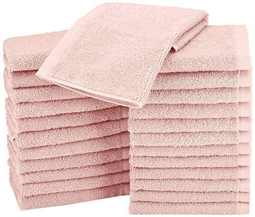 Amazon Basics - Asciugamani in cotone, confezione da 24, Rosa Petalo