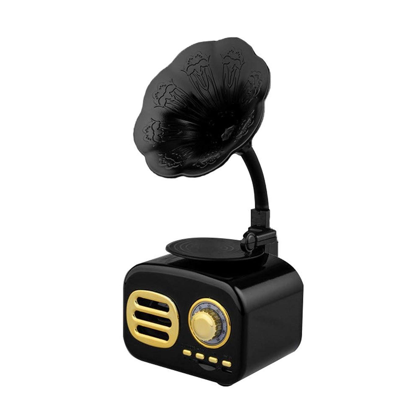 パノラマしゃがむスイス人アンティークブルートゥーススピーカー レトロな蓄音機のジュークボックスヴィンテージラジオワイヤレスステレオレトロスピーカーFMラジオ付きブルートゥーススピーカーラジオミニポータブルブルートゥースヴィンテージスピーカー付きブルートゥース4.1ウッドラジオ音声プロンプト機能32GB USB 簡単操作 音楽プレイヤー (色 : ブラック)