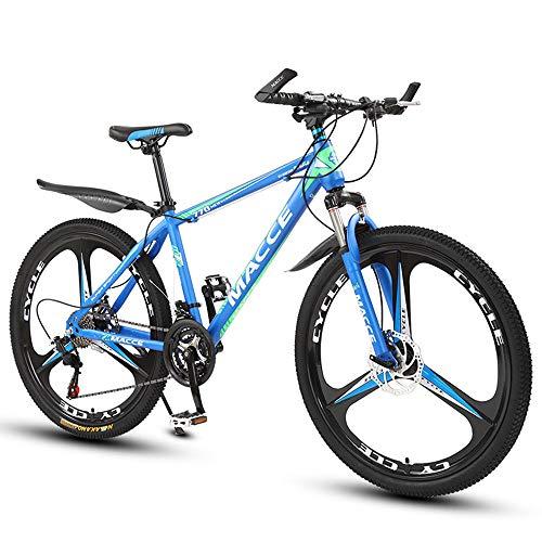 26 Zoll Mountainbike, Scheibenbremsen Hardtail MTB, Trekkingrad Herren Bike Mädchen-Fahrrad, Vollfederung Mountain Bike, 27 Speed,Blau,three cutter wheel