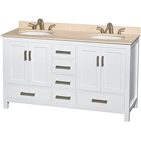 Wyndham Collection Sheffield 60 Inch Double Bathroom Vanity In White Ivory Marble Countertop Undermount Oval Sinks And No Mirror Amazon Com