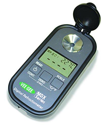 Vee Gee 48102 Digital Refractometer, Mdx-102, for Brix/ND (Wide Range), 0.0 to 90.0%/1.3330 to 1.5300 ND Range, Grey Plastic Housing, 32 mm x 60 mm x 120 mm