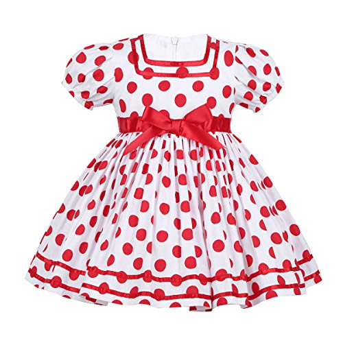 CHICTRY Baby Girls' Little Cutie Princess Dress Polka Dot Costume for Halloween Christmas Party Polka Dots Red Age 2-3