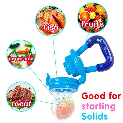 Fruchtsauger, Tinabless Schätzchen Schnuller Gemüse sauger für Schätzchen mit 2 und Clip (Blau und grün) - 8