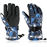 Winter Ski & Ski Gloves, WZS Waterproof & Windproof Snow Gloves for Skiing Snowboarding, Shoveling - Fits Men,Women,ladies and Kids