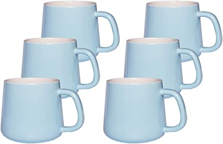 BPFY 6 Pack 12 oz Ceramic Coffee Mug With Handle, Ceramic Coffee Cups for Cappuccino, Latte, Tea, Mulled Drinks, Sky Blue