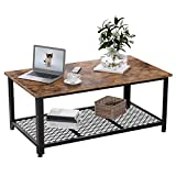 IRONCK Industrial Coffee Table for Living Room, Tea Table with Storage Shelf, Wood Look Accent Furniture with Metal Frame, Easy Assembly, Rustic Home Decor (Vintage Brown)