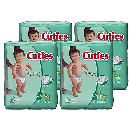 Cuties Baby Diapers, Size 5, 27 Count (Pack of 4)