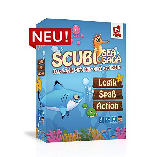 rudy games RG009 Scubi Sea Saga – Das Logikspiel für Groß und Klein-interaktiv-spannend-lustig I Brettspiel mit App ab 6 Jahren, für 2-5 Spieler I Gemeinschaftsspiel Legespiel