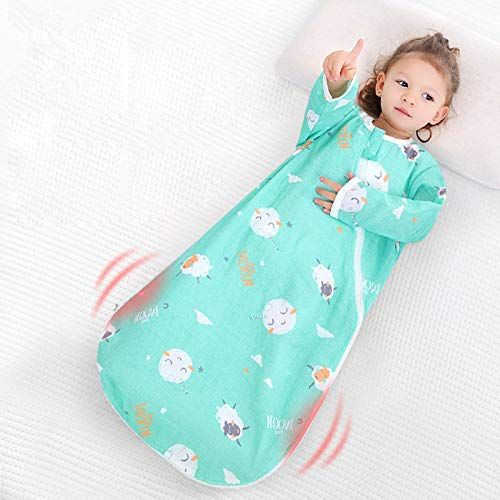 Saco de dormir para bebé unisex 1-3 años verano manga larga suave gasa protector vientre habitación con aire acondicionado capullo pijama de una pieza para niños