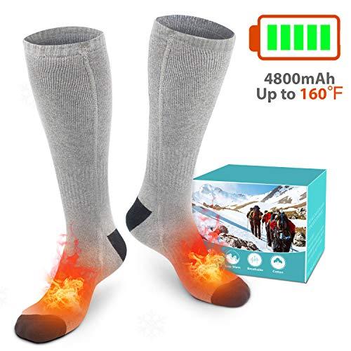 XBUTY Beheizte Socken für Damen und Herren,3.7V 4800mAh Elektrische Warme Socken mit Akku Baumwolle Heizsocken Beidseitige Beheizung 3 Gänge Fußwärmer Socken für Skifahren Camping Wandern
