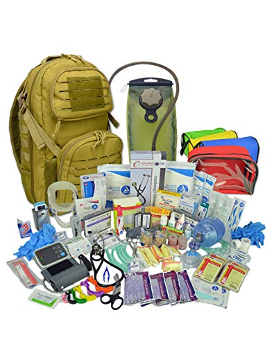 Lightning X Stocked Tactical EMT Trauma First Responder Medical Kit Backpack Desert Tan Hydration Bladder
