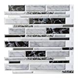 Decopus 3D Marble Tile Peel and Stick Backsplash (Long Shape - Marble White Black 5pc/Pack) for Flooring Kitchen, Bathroom Wall Accents, Self Adhesive Vinyl Marble Tile Vinyl, Faux Tile Stick On