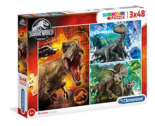 Clementoni Park Rompecabezas de 3 x 48 Piezas – Jurassic World, Color (25250)