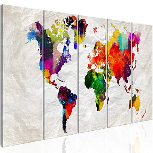 murando Acrylglasbild Weltkarte 100x40 cm 5 Teilig Wandbild auf Acryl Glas Bilder Kunstdruck Moderne Wanddekoration - Abstrakt bunt Landkarte Reise k-A-0246-k-m
