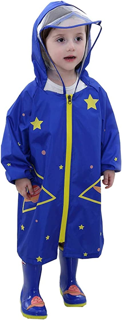 Kids Waterproof Cartoon Raincoat Hooded Rain Wear Reflective Rain Jacket for Boys Girls