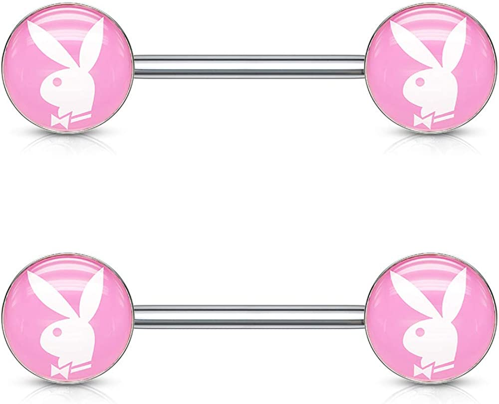 Pair of Dynamique Playboy Bunny Inlaid 316L Surgical Steel Barbell Nipple Rings