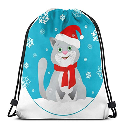 Lustige graue Katze in Einer roten Weihnachtsmütze und rotem Schal für Damen und Herren mit Kordelzug