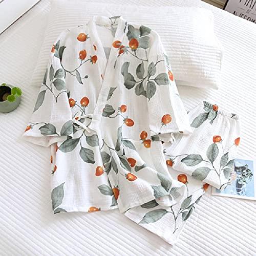 wsxcfyjh Pijamas Camisón Conjunto De Pijamas De Algodón De Gasa Fina Suelta Suave para Mujer Comfort 2Pcs Impresión De Tomates Cherry Homewar XL como Se Muestra En La Imagen