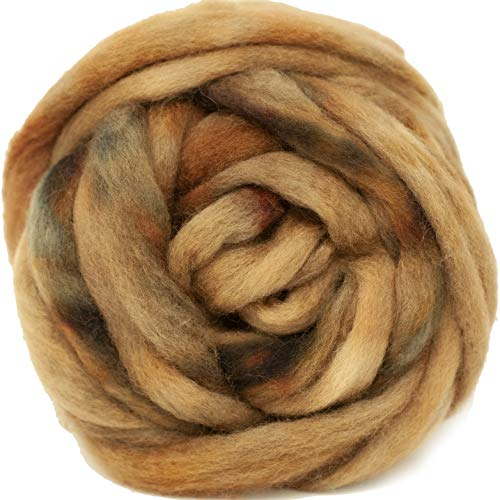 Wool Roving Hand Dyed. Super Soft BFL Combed Top Pre-Drafted for Easy Hand Spinning. Artisanal Craft Fiber ideal for Felting, Weaving, Wall Hangings and Embellishments. 1 Ounce. Old Gold