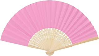 Departure 12 Pack Hand Held Fans Silk Bamboo Folding Fans Handheld Folded Fan for Church Wedding Gift, Party Favors, DIY Decoration(Pink)