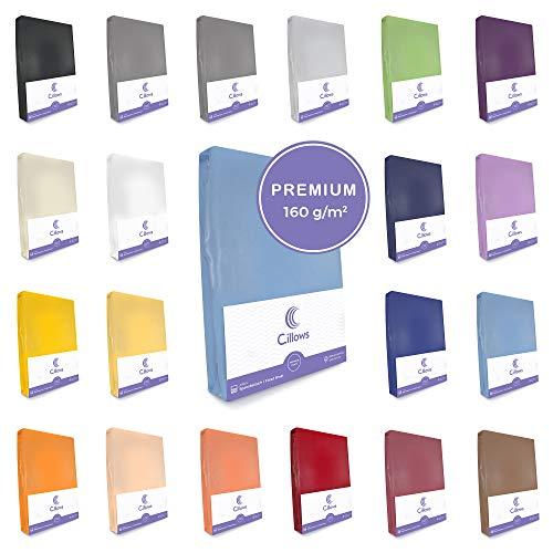 Cillows Jersey Spannbettlaken Spannbetttuch 90x200-100x220 cm 100% Baumwolle Bettlaken Farbe: Hellblau 160 g/m2 Qualität
