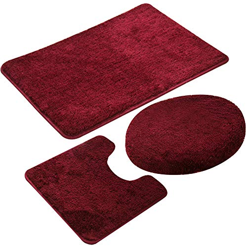3 Pieces Bathroom Rug Set,Non-Slip Bath Mats for Floors,Ultra Soft, Absorbent and Comfortable U-Shaped Contour Rug, Floor Mat and Toilet Lid Cover (Wine Red)