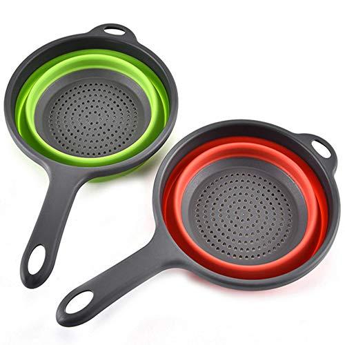 MKSI 2 PCS Silicone Pieghevole Filtro Scolapasta, Set Colino Pieghevole Setaccio Cucina per Lavastoviglie, per Drenaggio di Pasta di Verdure alla Frutta (Green, Rosso)