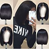 Short Bob Wigs Human Hair 4X4 Lace Closure Bob Wig 150% Density Brazilian Virgin Human Hair Straight Bob lace Front Wigs For Black Women Pre Plucked with Baby Hair Natural Color (12 Inch)