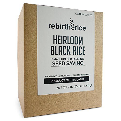 Rebirth Rice Heirloom Thai Black Rice, 4lb/64oz, VACUUM SEALED   NON-GMO & Direct Trade   Farming Reference: We tell you where our rice grows