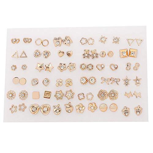 XKMY Pendientes de regalo para mujer 18/36 pares de pendientes de diamantes de imitación de oro estilo mezcla para mujeres y niñas, regalo de boda de Navidad (color de metal: color oro puro)