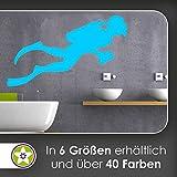 hauptsachebeklebt KIWISTAR Taucher Silhouette mit Druckluftflasche Wandtattoo in 6 Größen -...