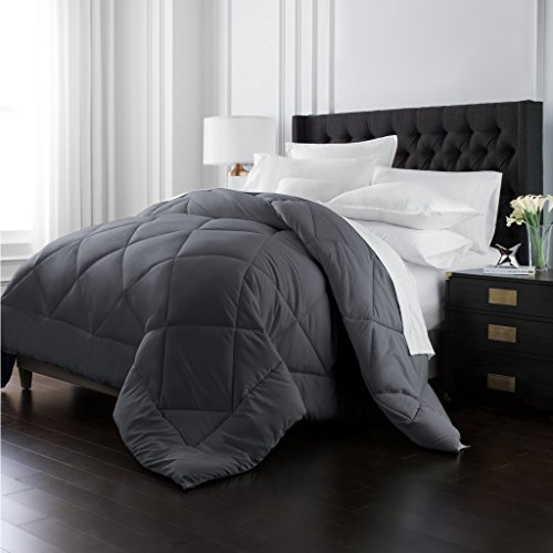 Park Hotel Collection Goose Down Alternative Comforter - All Season - Premium Quality Luxury Hypoallergenic Comforter - Gray - Full/Queen