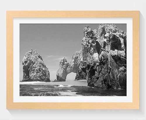 PUPBEAMO Cabo San Lucas, Mexico - Art Print Wood Frame Picture Prints Wall Art Home Decoration - Black and White (Wood Color,16x12 Inches)