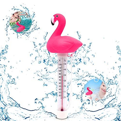 Thermomètre de Piscine Flottant,Thermomètre Flottant Piscine avec Corde,thermomètre Spa Piscine,thermomètre à Eau de Piscine sans Fil-bouée,Thermomètre Numérique de Piscine (bianca)