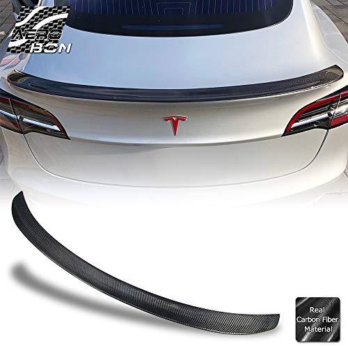 AeroBon Real Carbon Fiber Trunk Spoiler Wing Compatible with Tesla Model 3 Sedan 2017+ (Glossy)