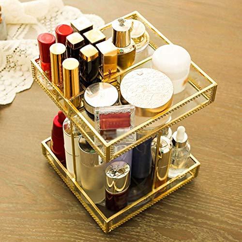 360-Grad-Drehung Make-up Veranstalter Für Lippenstift, Gold Spiegelglas-Ober Kommode Make-up-Schmuck-Kosmetik Tablett, Eitelkeitsablage Spiegelklare Schubladenaufbewahrung Für Eitelkeit, Kommode, Bade