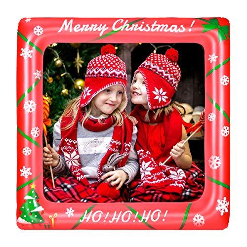Amosfun Weihnachten Aufblasbare Rahmen Foto Requisiten Selfie Rahmen Bild Selfie Rahmen Partei Liefert Für Geburtstag Baby-dusche Hochzeit (27,95 x 27,95 Zoll)