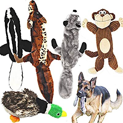 5 Pack (Racoon, Wolf, Skunk, Monkey and a Goose) Squeaky Dog Toys