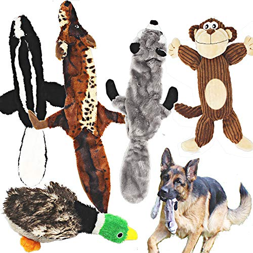 Squeaky Dog Toy - 5 Pack Racoon, Wolf, Skunk, Monkey and a Goose