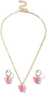 The Belcher's Colorful Acrylic Butterfly Drop Earrings Choker Necklace Set Metal Beads Chain Sweet for Women's Girl Sweet ...