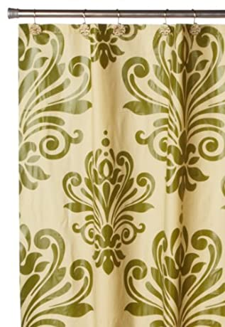 Carnation Home Fashions Beacon Hill Peva Shower Curtain and Matching Resin Shower Curtain Hooks, in Gold / Sage