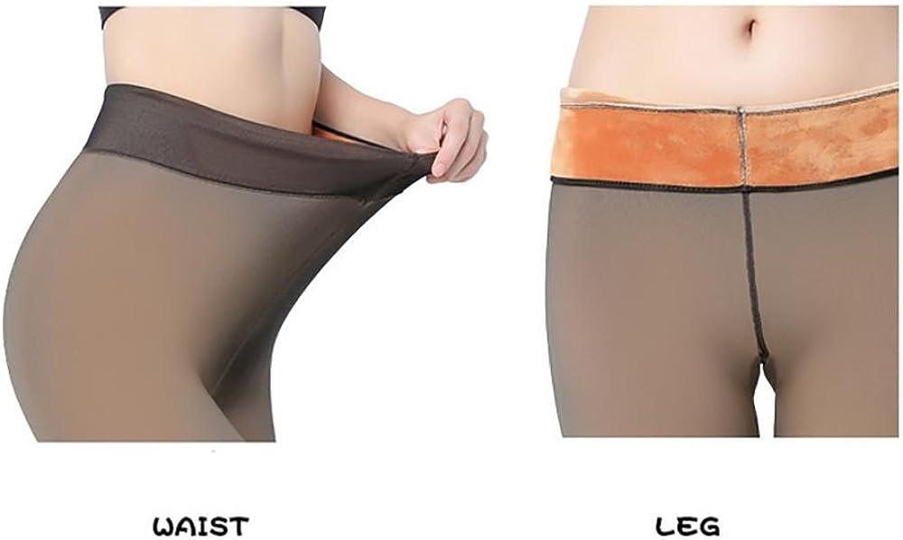 JIASHA Womens High Waisted Anti-hook silk really transparent leggings nylon Lined Leggings Thick Warm Tights