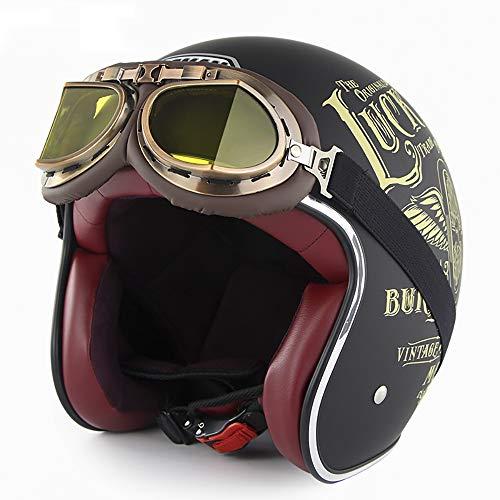 EDK Retro Open Face Motorradhelm (Lucky 13), Motorrad Scooter Halbhelme Mofa Cruiser Bobber Biker Scooter Chopper Jet Helm, DOT-Zertifiziert, inklusive Sonnenblende Schutzbrille,L(58~59cm)