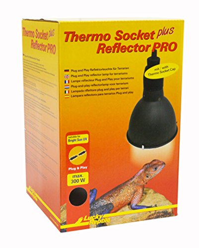 Lucky Reptile HTRP-1 Thermo Socket plus Reflector klein mit Steckverbindung, Reflektorleuchte mit Porzellanfassung Anschlussfertig