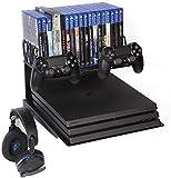 Borangame Supporto Orizzontale da Parete Universale per PlayStation 4 PS4 PlayStation 5 PS5 e XBOX – in Ferro Verniciato a Polvere – 2 Porta Pad, 1 Porta Cuffie da Gaming e Porta Giochi