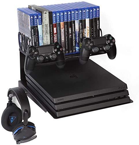 Borangame Soporte de Pared para Playstation 4 Ps4 Normal/Pro/Slim y Playstation 5 Ps5 todos los modelosY Xbox 360/One/One S/One X - Base Horizontal con Soporte para Mandos, Auriculares y juegos