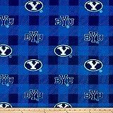 NCAA Brigham Young Cougars Buffalo Plaid Fleece, Fabric by the Yard